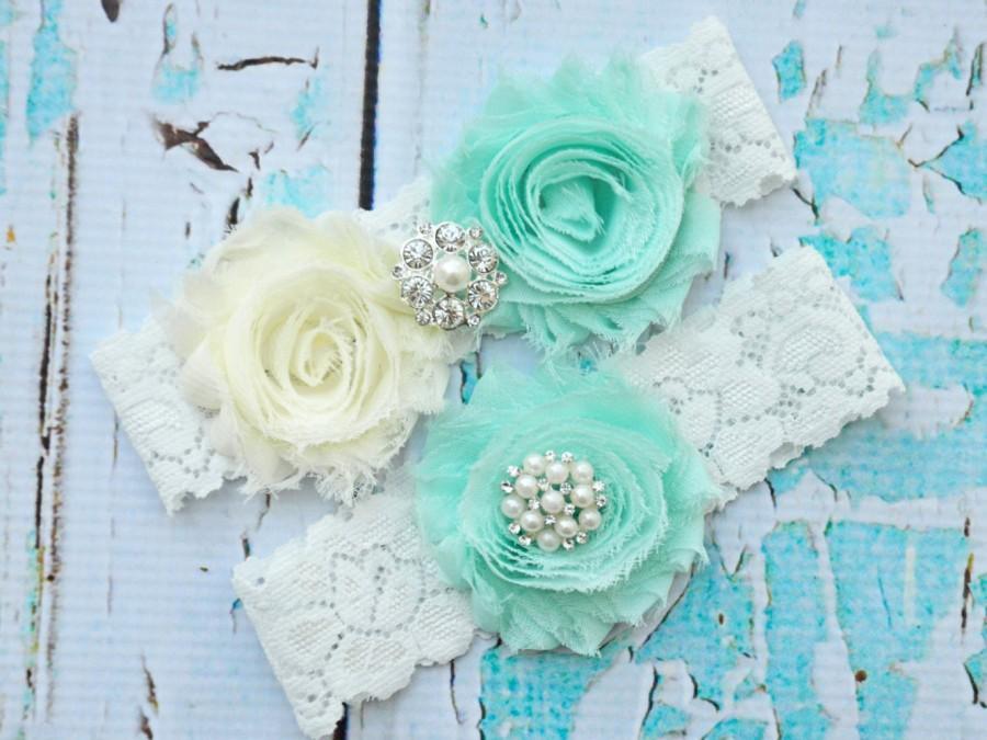 Свадьба - MINT Wedding Garter, Mint  Wedding Garter Set,Bridal Garter,Garter Set, Beach Garter Mint, Keepsake Garter, Toss Garter, Lace Wedding Garter