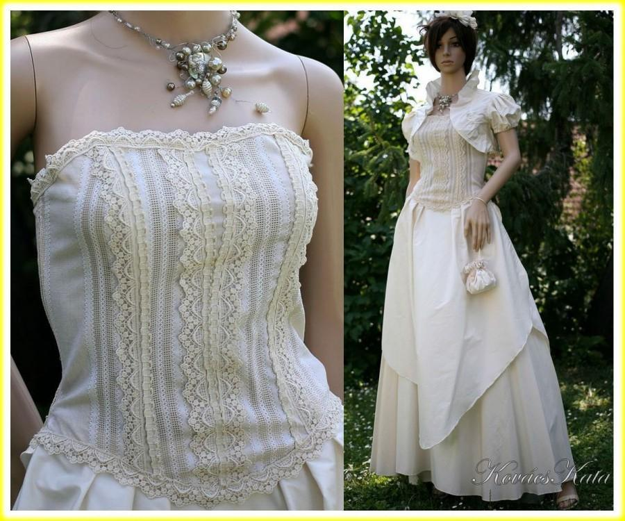Mariage - Vintage-style Elegant 3 Parted 100% Silk Wedding Gown with Linen Bodice OOAK - Maya