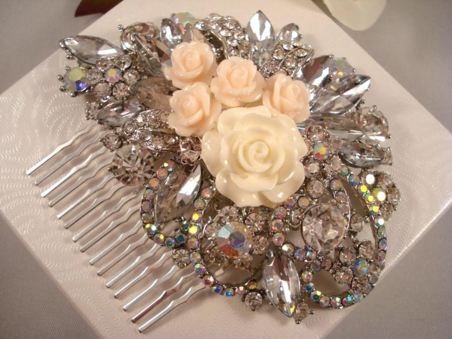زفاف - Rhinestone Bridal Hair Piece * Rhinestone Wedding Hair Comb * White Rose Comb * Aurora Borealis Wedding Hair Piece * Cream Rose Hair Comb