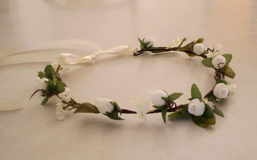 Hochzeit - Flower Crown Bridal headpiece ready to ship  Rustic Chic hairpiece Wedding hair flower accessories Ivory hairwreath flower girl halo circlet