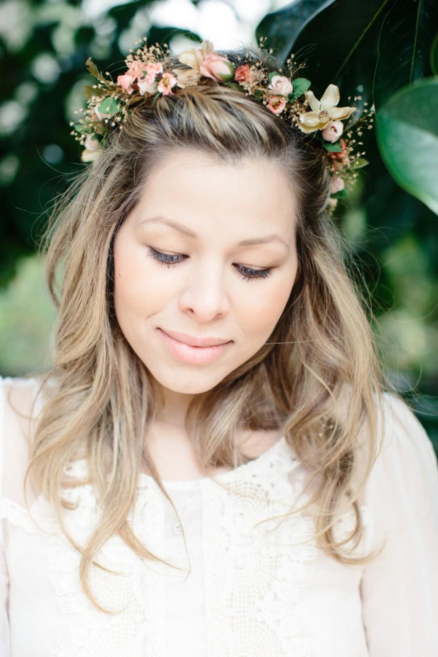 زفاف - Wedding Flower crown peach Woodland Bridal party dried Floral fall hair wreath Accessories girl halo Fairy circlet champagne babys breath