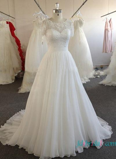 Свадьба - H1612 Inexpensive Modest white chiffon wedding dress with sleeves