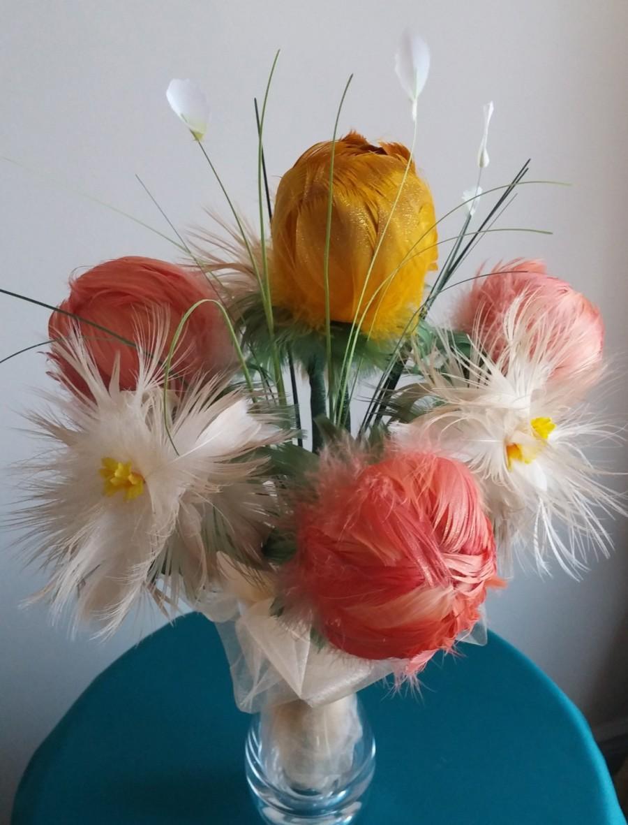 "Свадьба - Real Feather Flowers Bouquet ""Glamour"" - wedding bouquet - bridal bouquet - wedding flower - home decor"