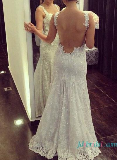Mariage - H1611 2016 backless lace trumpet wedding dress with straps
