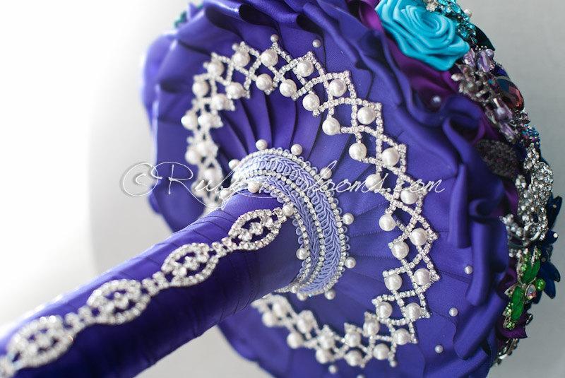 "Wedding - Jeweled Peacock Bridal Brooch Bouquet. ""Peacock Theme"" Jade Purple wedding bouquet. Wedding Broach Bouquet Ruby Blooms Weddings"