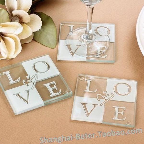 زفاف - 开幕来宾礼物 玻璃杯垫BD002隔热垫 创意回礼结婚 欧式婚庆用品