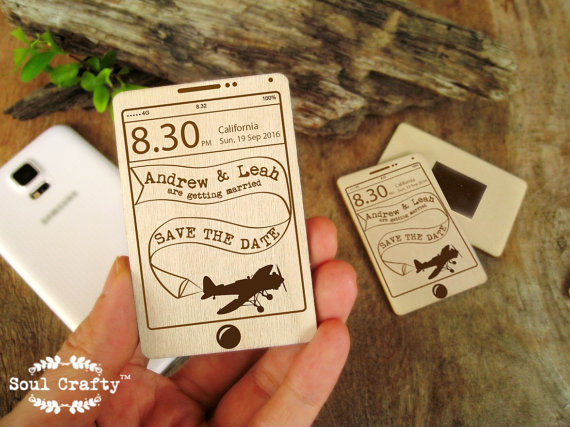 Save The Date Wooden Smartphone Mobile Iphone Airplane Fridge Magnet Engraved Wedding Gift Invitation Decoration Bridal Pack Of 30 50