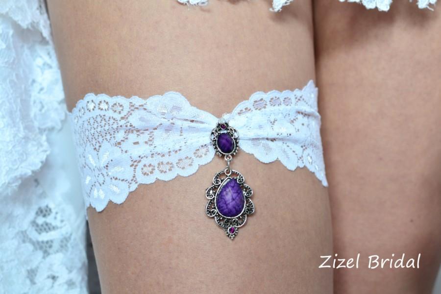 Свадьба - Purple Bridal Garter, White Lace Garter, Purple Garte Set, Garter Set, Wedding Garter Set, Purple Garter Set,Toss Garter, Handmede Garter