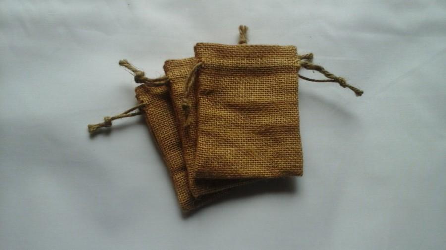 "Свадьба - 100 Burlap bags 3"" x 4"" for candles handmade soap wedding packaging"