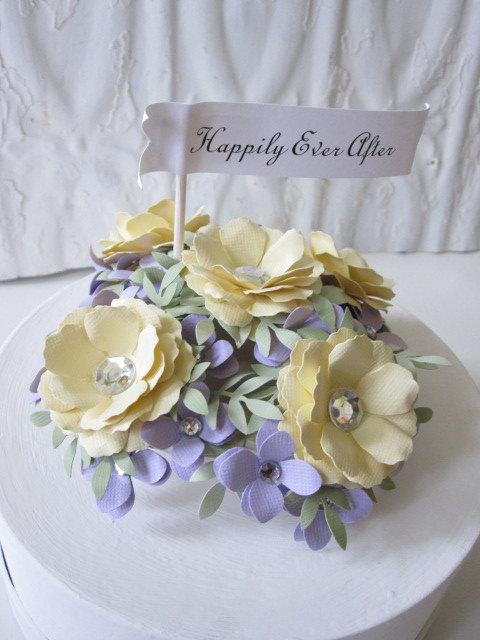 Свадьба - Wedding Cake Topper Handmade Paper Flowers