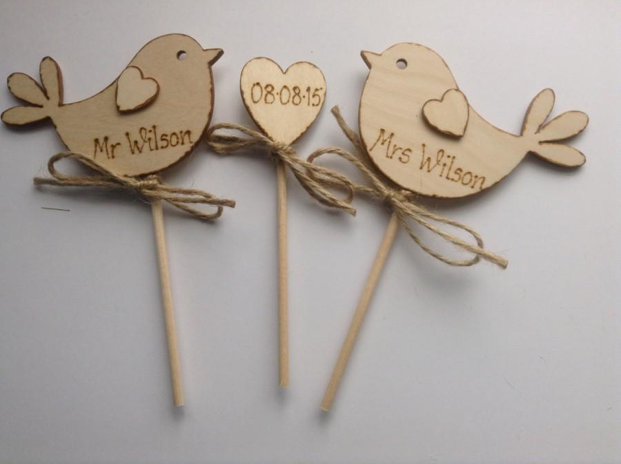 Свадьба - Personalised Wedding Cake Topper, Bird Cake Topper - Rustic Cake Topper,  Rustic Wedding