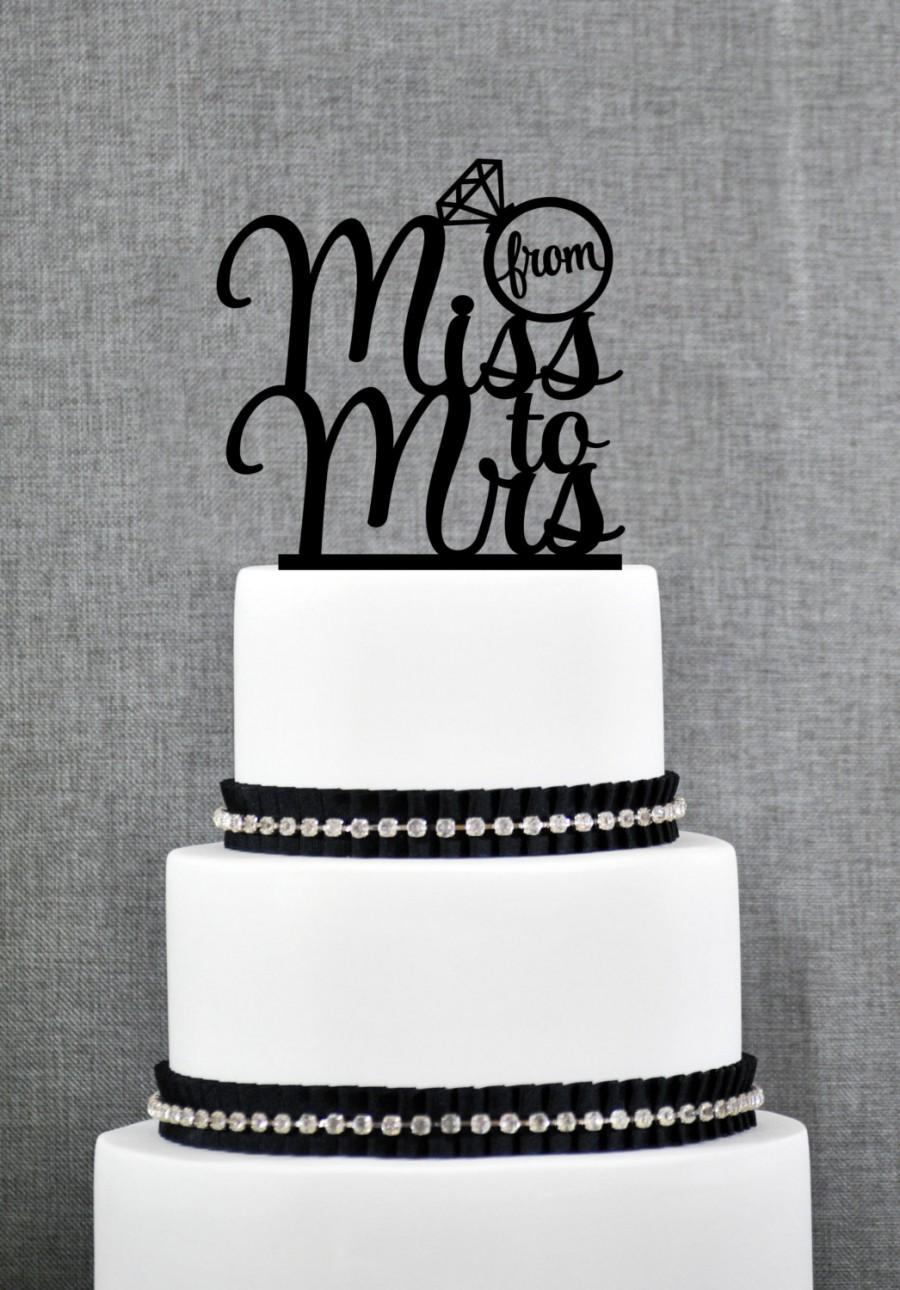 Свадьба - From Miss To Mrs Bridal Shower Cake Topper, From Miss To Mrs Cake Topper, Custom Bachelorette Cake Topper, Bridal Shower Cake topper- (S275)