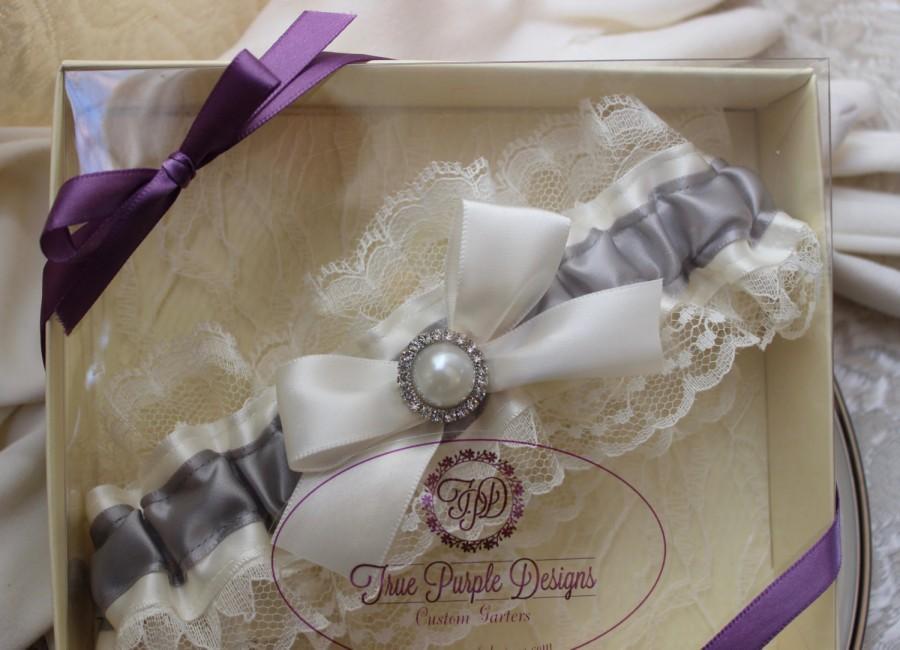 Mariage - Wedding Garter Prom Garter Ivory & Silver