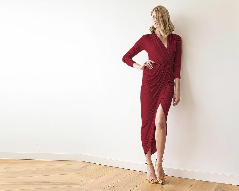 Bordeaux Formal Maxi Wrap Dress With Long Sleeves Wrap Tulip