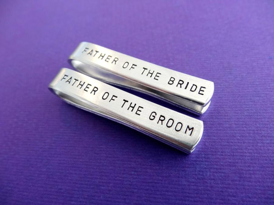 Hochzeit - Tie Clip Wedding Set - Father of the Groom Tie clip - Father of the Bride Tie clip - Personalized Tie Bars