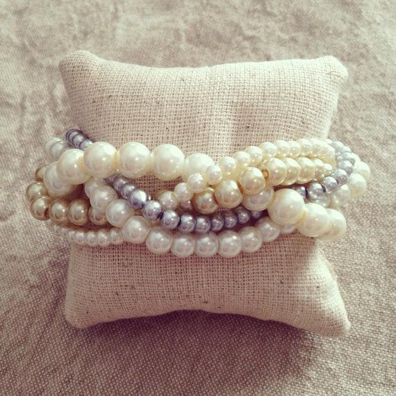 زفاف - Braided cuff, ivory pearl bracelet, bridesmaids bracelet, ivory bracelet, pearl bracelet, statement bracelet, elegant bracelet, ivory gold