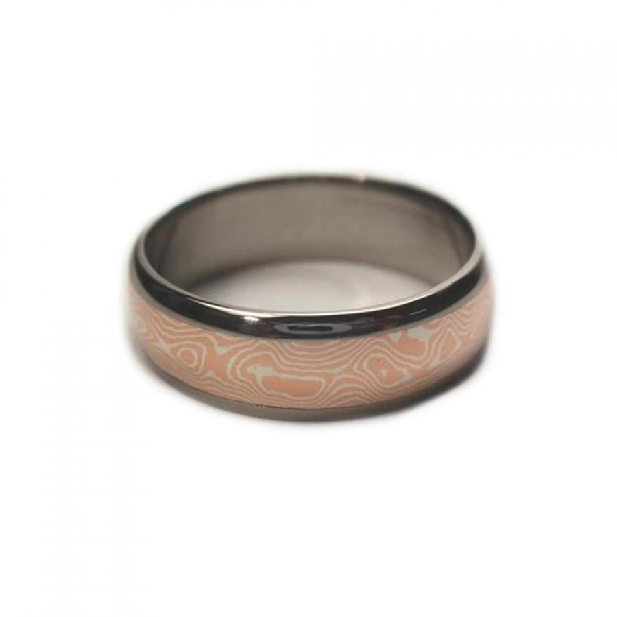 Wedding - Copper and Sterling Silver Mokume Gane Ring, Interchangeable Titanium Band