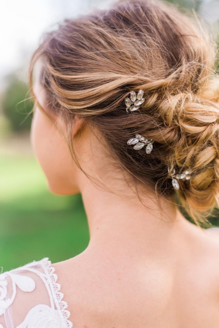 زفاف - Set of 3 Crystal Laurel Pins laurel leaf pins crystal hair pins bridal hair pins gold hair pins silver hair pins wedding hair pins #128