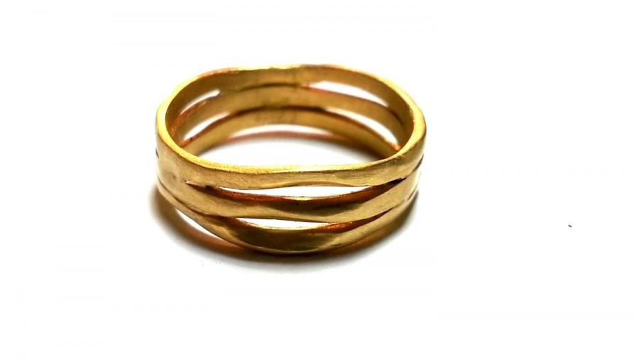 Unusual Wedding Band Solid Gold Rings Unisex Wedding Bands His And
