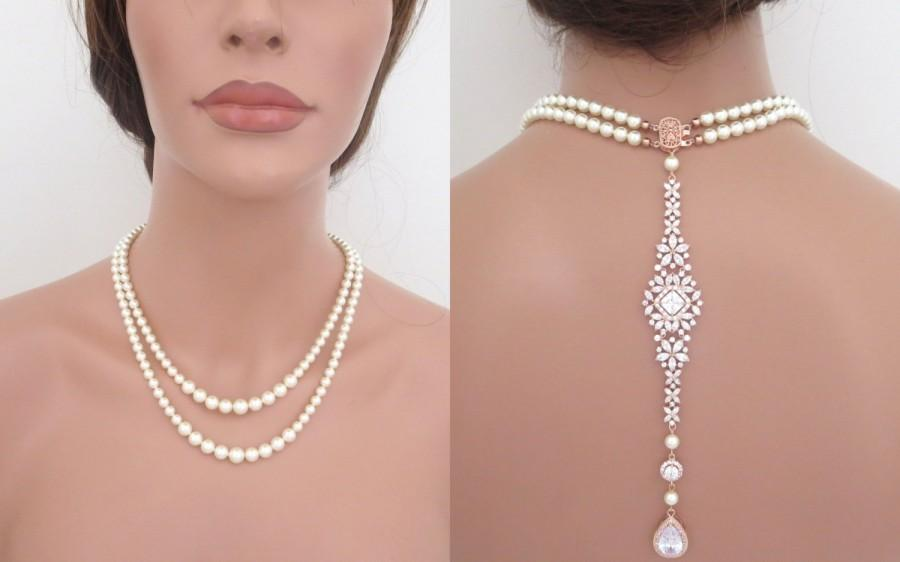 Mariage - Pearl backdrop necklace, Bridal back drop necklace, Rose gold necklace, Wedding jewelry, Crystal necklace, Pearl necklace, SOPHIA