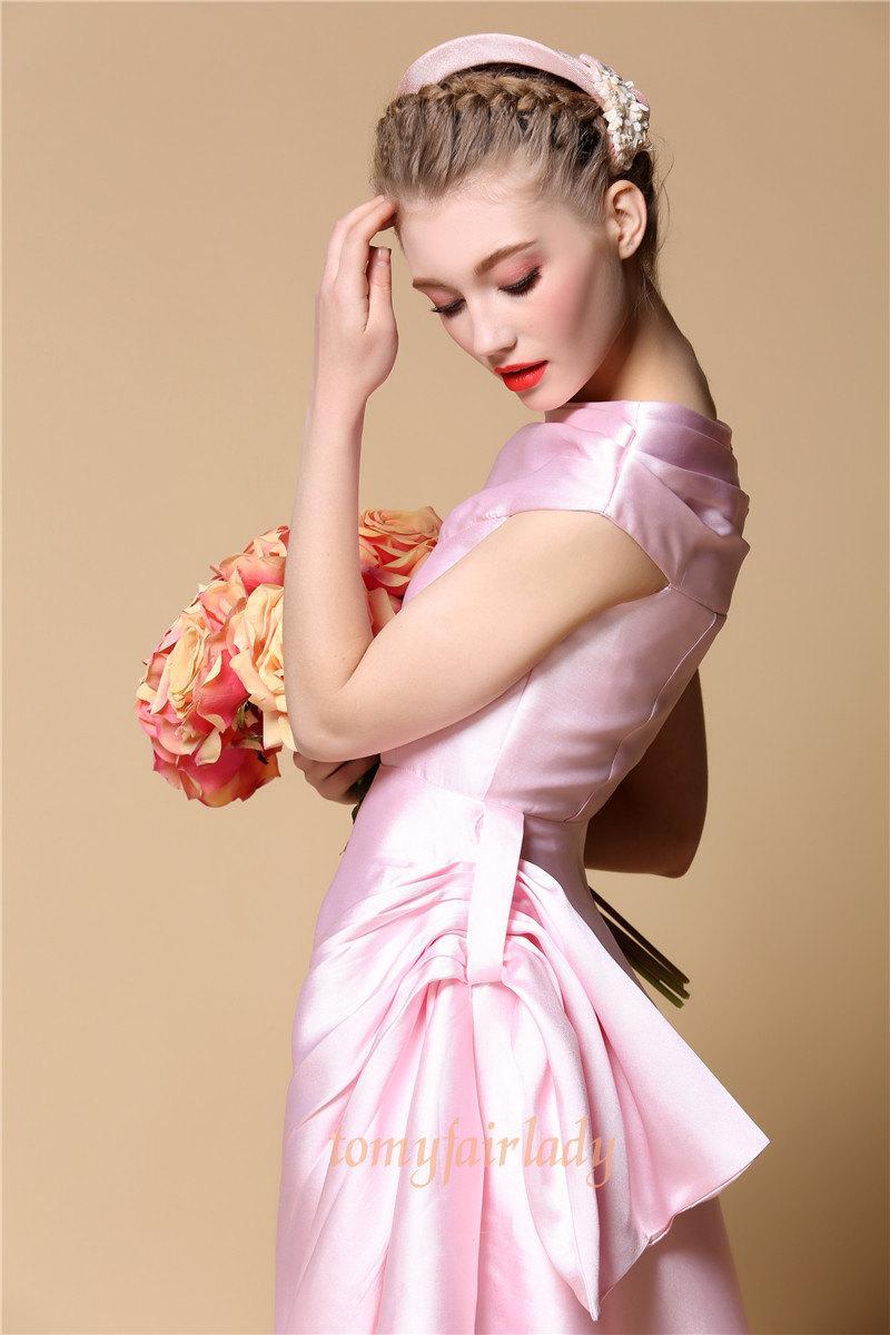 Свадьба - Pastel Pink Pleated Side Bow Tea Length Satin Wedding Gown Fairy Tale Blush Pink Mermaid Wedding Dress 50s Rose Asymmetric Silk Evening Prom