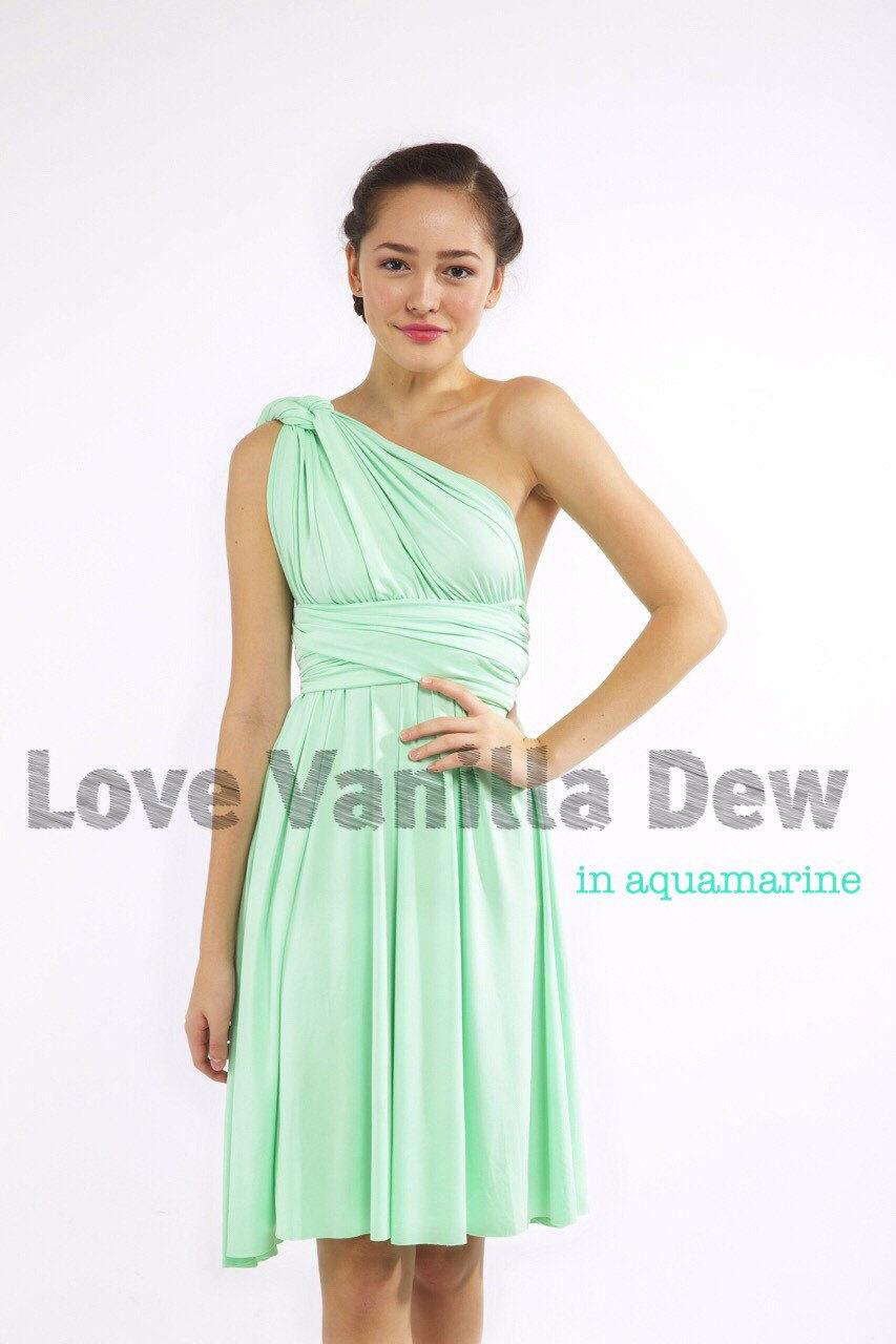 Wedding - Bridesmaid Dress Infinity Dress Aquamarine Straight Hem Knee Length Wrap Convertible Dress Wedding Dress