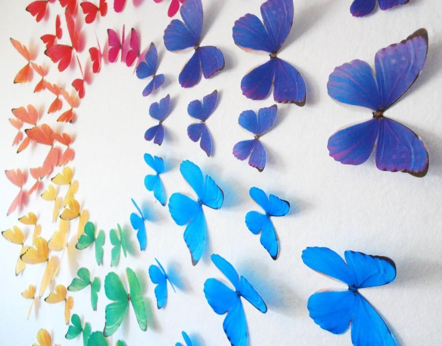 Свадьба - 3D Rainbow Wall Butterflies- Set of 70