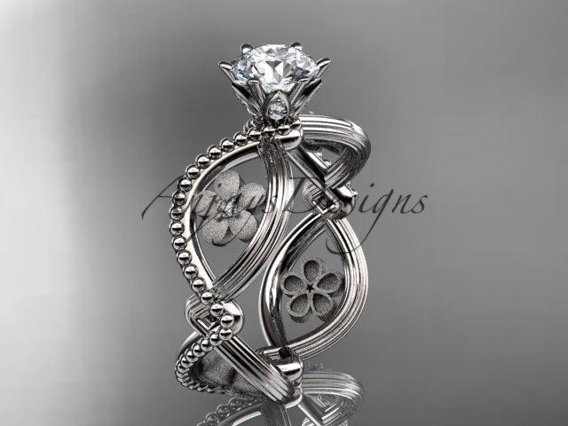 Mariage - platinum diamond floral wedding ring,engagement ring ADLR192