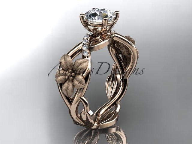 """زفاف - Unique 14kt rose gold diamond floral leaf and vine wedding ring, engagement ring with a """"Forever One"""" Moissanite center stone ADLR270"""