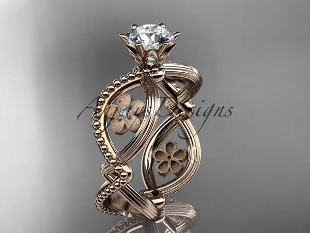 زفاف - 14kt  rose gold diamond floral wedding ring,engagement ring ADLR192