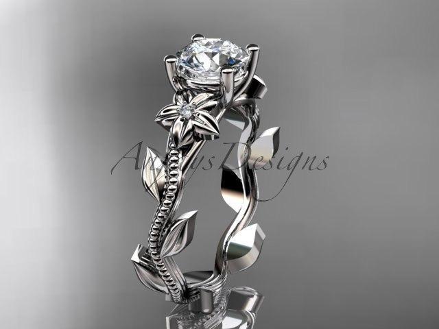 Свадьба - Unique platinum diamond floral wedding ring,engagement ring ADLR223