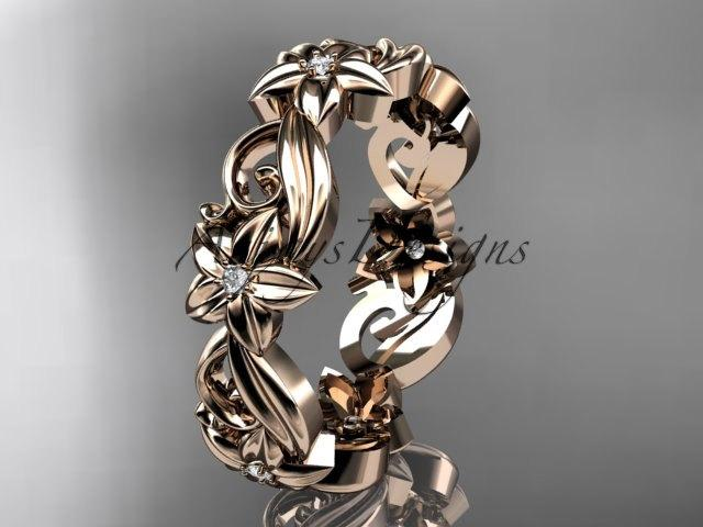 Свадьба - 14kt rose gold diamond flower wedding ring, engagement ring, wedding band ADLR217