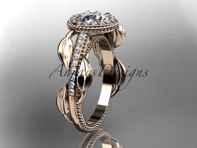 """Свадьба - 14kt rose gold diamond unique engagement ring, wedding ring with a """"Forever One"""" Moissanite center stone ADLR229"""