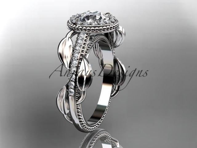 Свадьба - 14kt white gold diamond unique engagement ring, wedding ring ADLR229