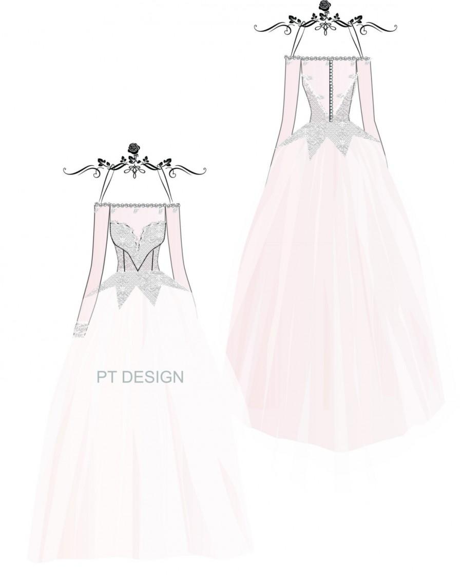 Custom Weddng Gown Sketch- Long Sleeve Bridal Ball Gown #2503134 ...