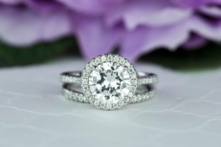 Mariage - 2.25 ctw Round Classic Halo Ring, Wedding Set, Engagement Ring, Man Made Diamond Simulants, Half Eternity Ring, Bridal Ring, Sterling Silver