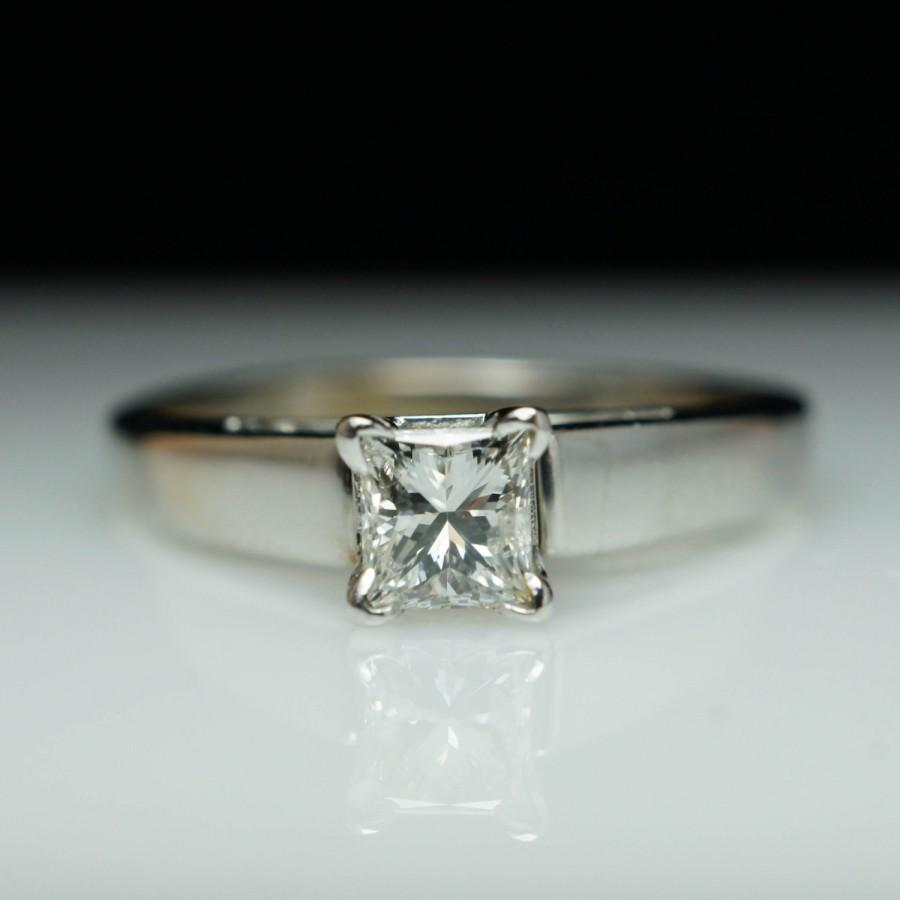 Princess cut diamond engagement ring solitaire engagement for Princess cut solitaire engagement ring with wedding band