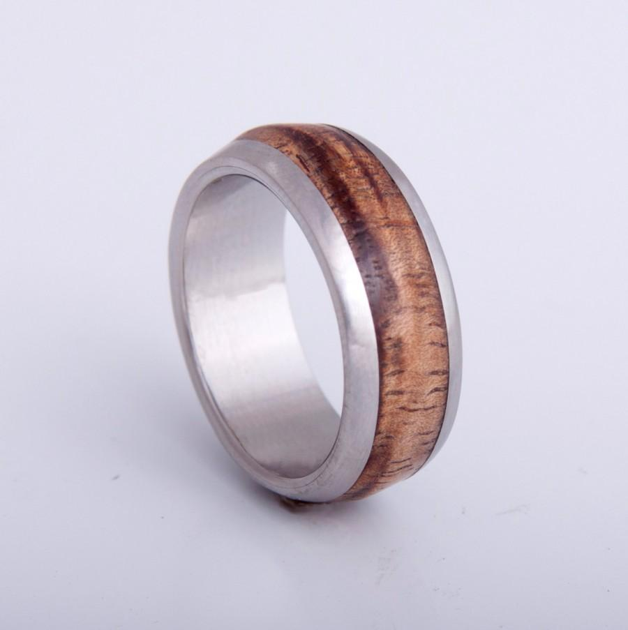 Mariage - Mens Wood Wedding Band with Titanium Ring woman man ring