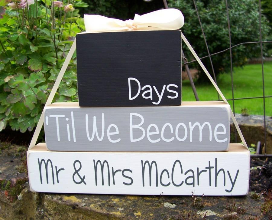 Свадьба - Personalised Wedding Countdown Blocks - Handmade in the UK - Engagement Gift - Wedding Wooden Blocks