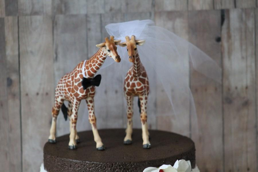 Giraffe Wedding Cake Topper Bride And Groom Rustic Country Chic