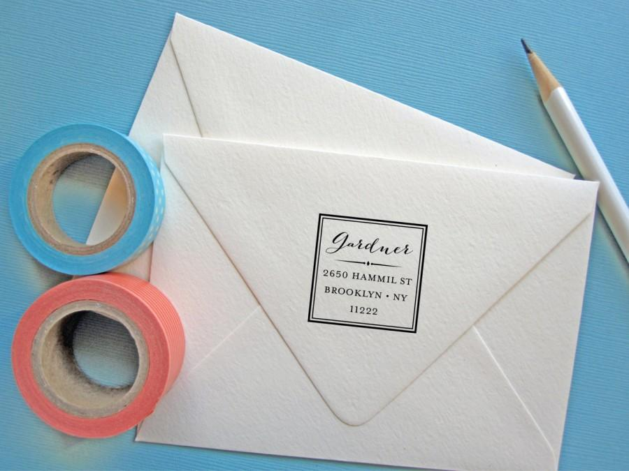 Mariage - Return Address Stamp, custom address stamp with square border, self inking, rubber stamp wood handle