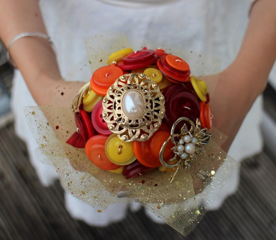 Nozze - Autumn wedding bouquet - fall wedding bouquet - alternative wedding - button bouquet - brooch bouquet - gold bouquet