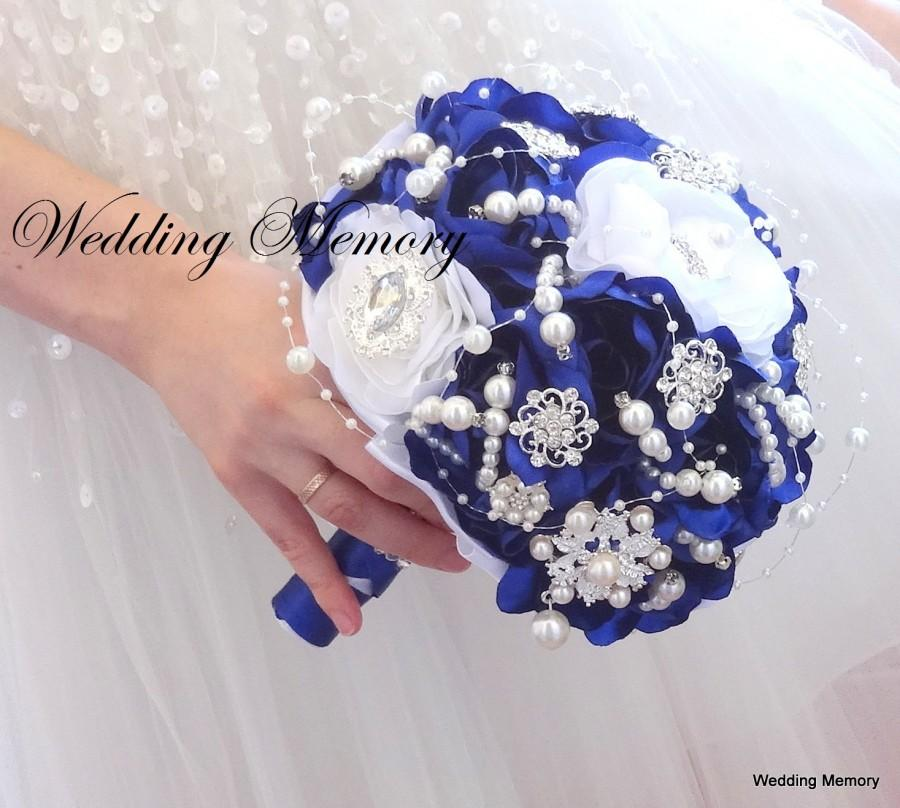 Brooch Bouquet In Royal Blue And White Colours Jewled With Pearls