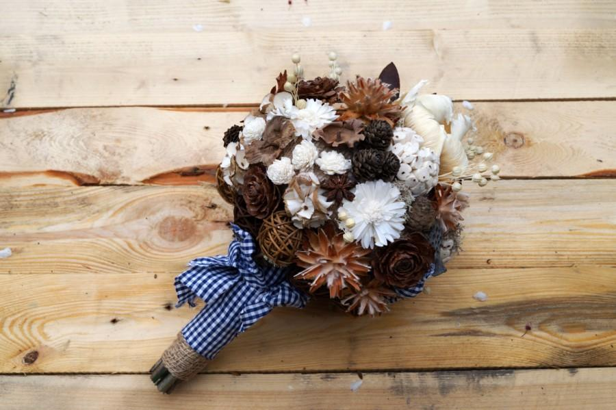 Dried Flowers, Wedding Bouquet Rustic Style Sola Flowers Woodland ...