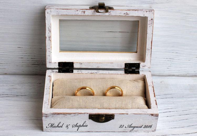 Wedding Ring Box Decoupage Box Ring Bearer Box Jewelry Box