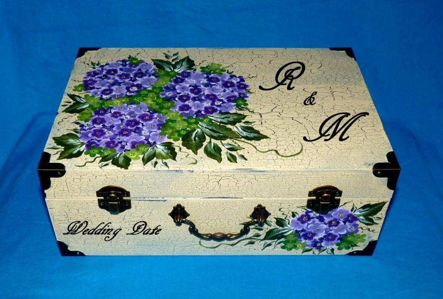 Hand Painted Wedding Suitcase Card Box Wood Keepsake Decorative Trunk Gift Bo Personalized Bridal Distressed White