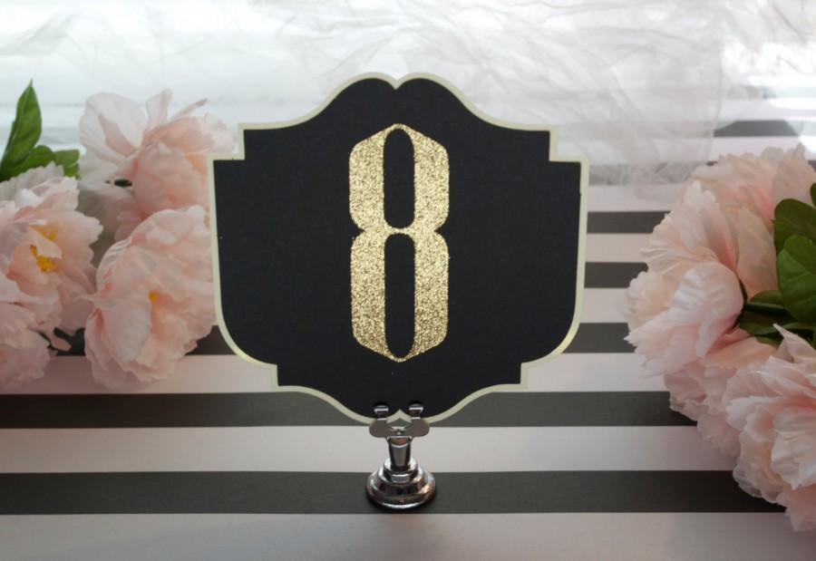 Свадьба - Gold Glitter Art Deco Table Numbers - black and gold - Old Hollywood - Gatsby Wedding