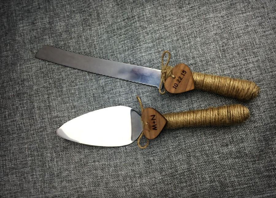 Wedding Cake KnifeRustic Server And Knife Handmade Custom Initials Date Cutter Gift