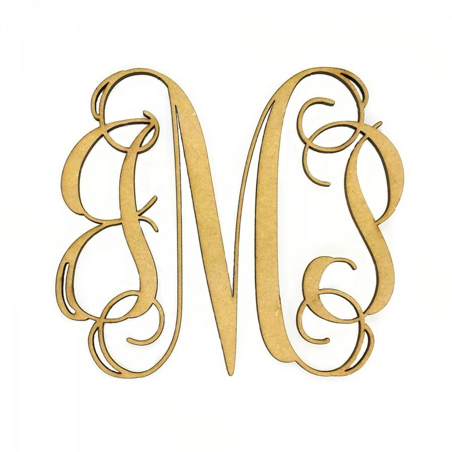 wooden monogram unfinished cursive wooden letter perfect for crafts diy weddings sizes 1 to 42
