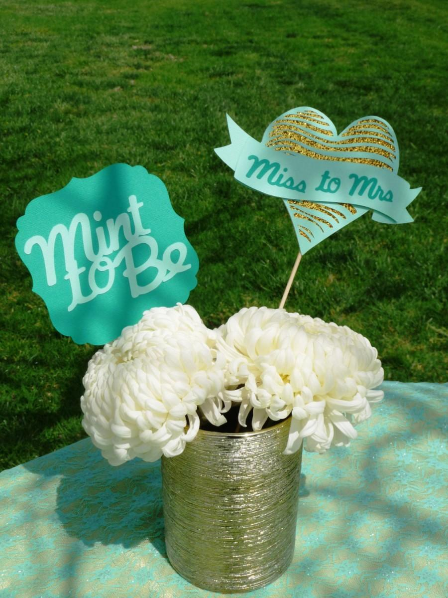 Mariage - Mint to Be Bridal Shower Centerpiece - Miss to Mrs Glitter gold and Mint Green Set of 2 - Centerpiece - Flower Decorations Photoshoot prop